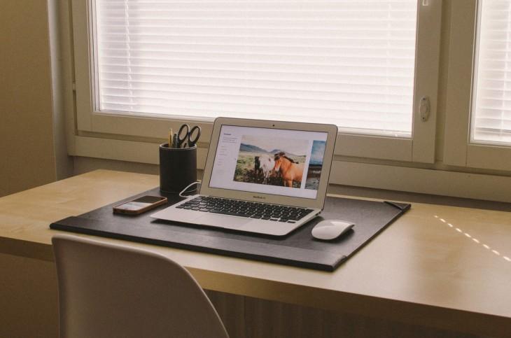 work desk computer laptop