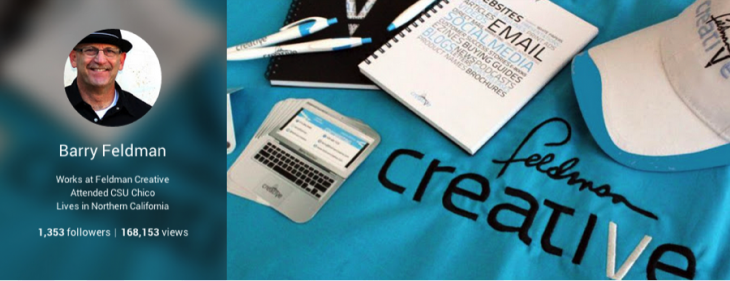 In the header of my Google+ page, I feature a photo of various Feldman Creative items to help reinforce my brand.