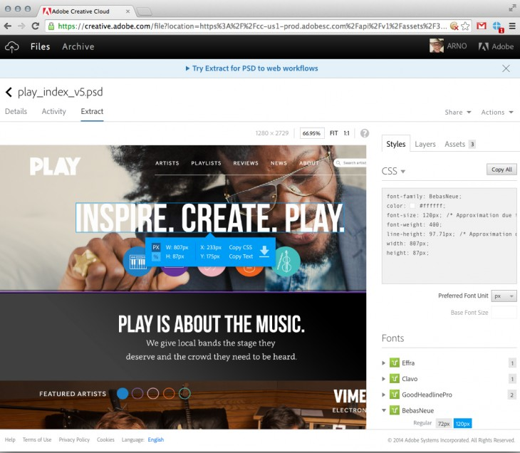 Creative Cloud Extract in the browser copy