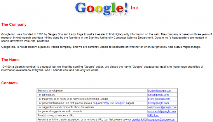 Google Beta tech company names