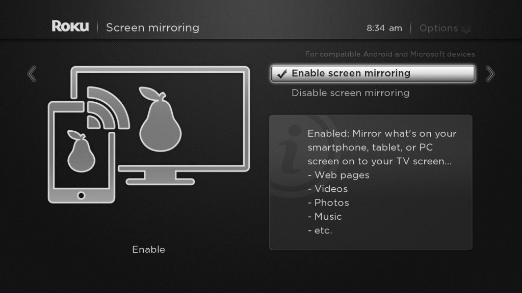 Screen mirroring windows 8