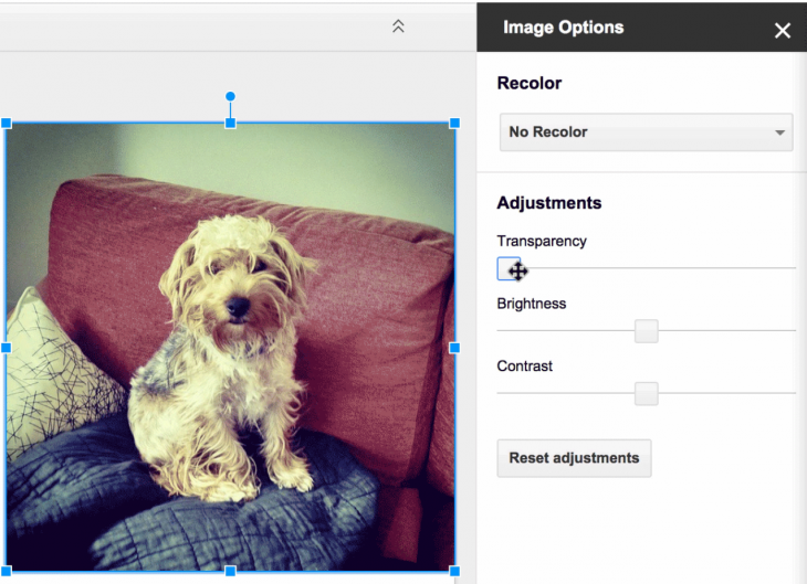 Google Slides gets opacity, brightness and contrast image editing
