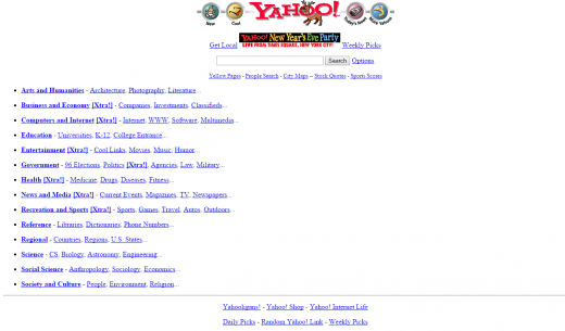 Yahoo's website in 1996 via WayBackMachine