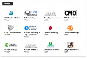 Most social media offer opportunities to join or create special interest groups. Above is a sample of the many LinkedIn Groups I belong to.