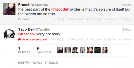 A fan literally thanking Taco Bell for speaking her language. You don't see that every day.