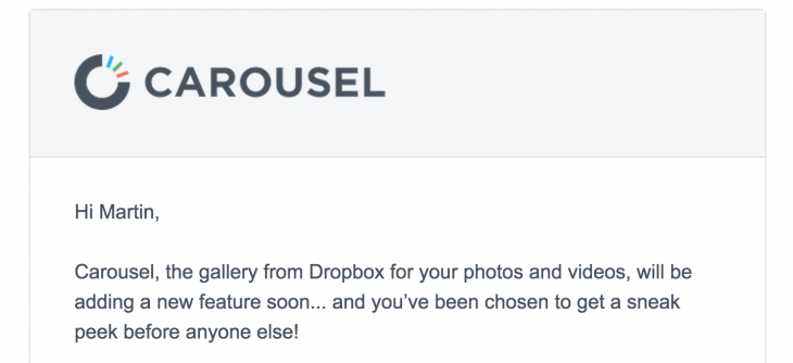 Carousel email