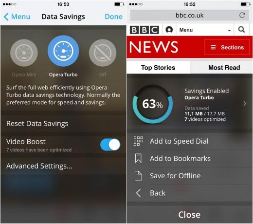Opera Mini 9 on iOS