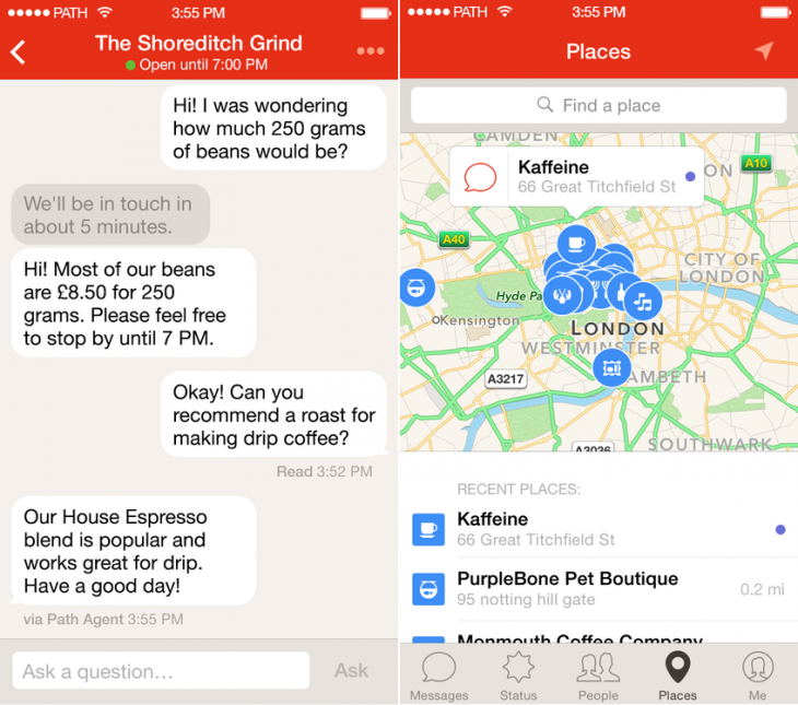 Path Talk now lets you chat to local businesses in the UK, Ireland, Australia and New Zealand
