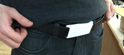 A prototype XOO belt with 3D-printed buckle.