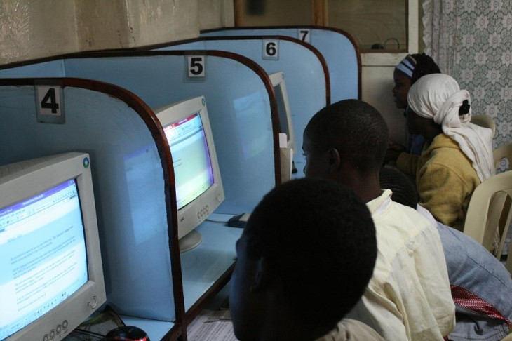 african students internet cafe
