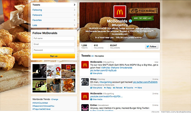 Last year, Burger King's Twitter account was hacked to look like McDonald's.