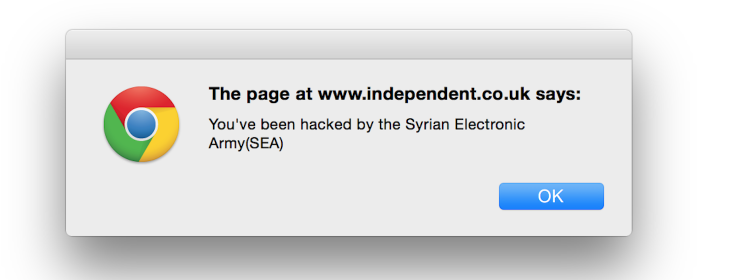 The Independent and other sites 'hacked' by the Syrian Electronic Army