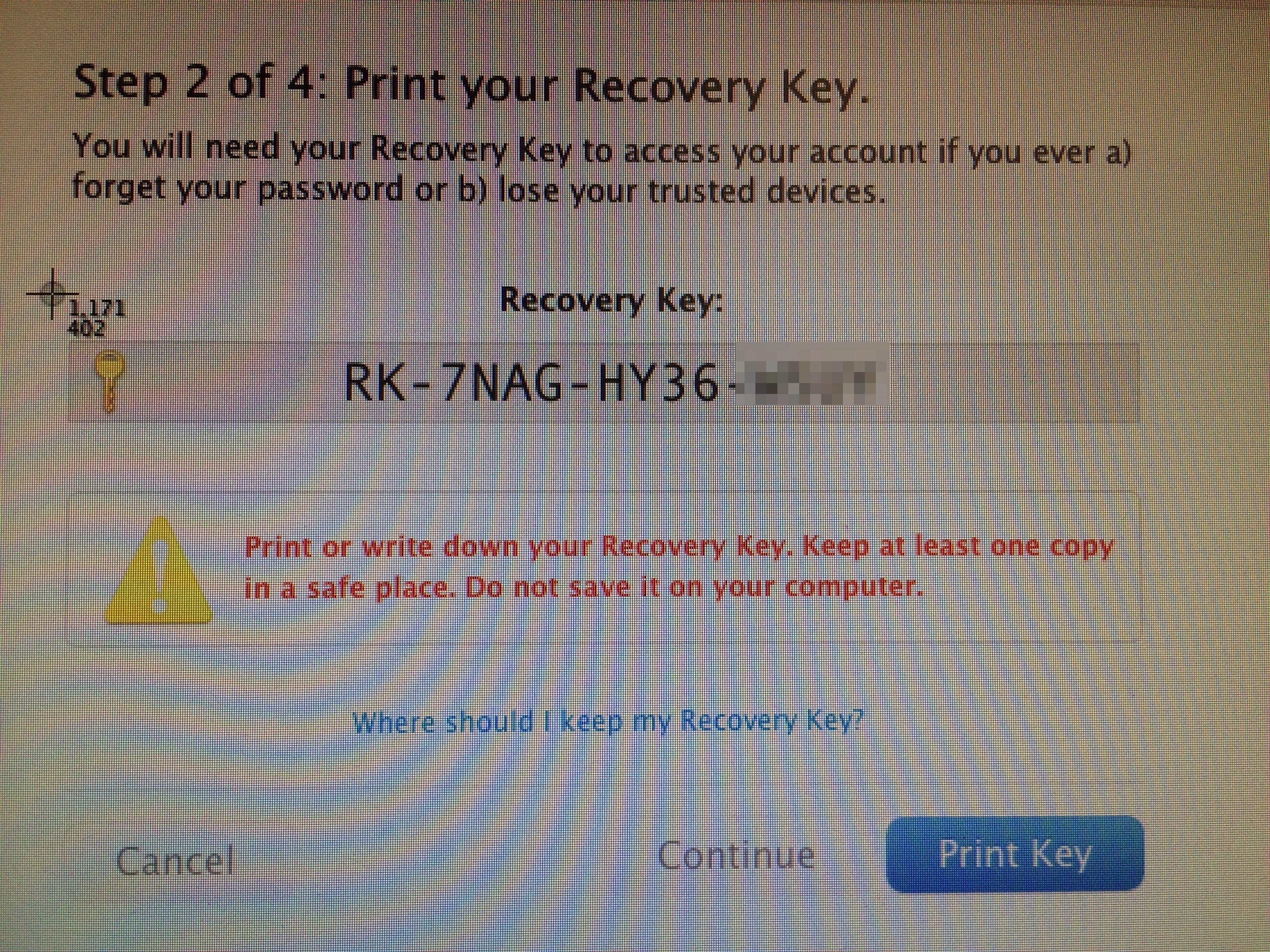 Screenshot recovery key Apple ID verification
