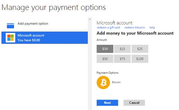 Bitcoin Microsoft