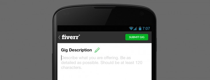 Fiverr Android update lets sellers deliver projects through the app