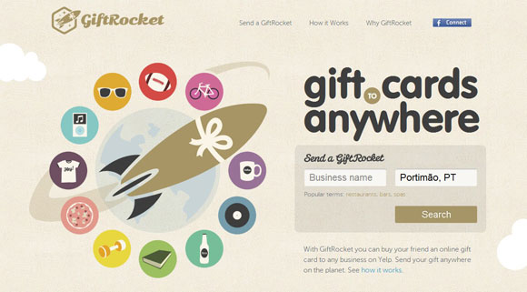 Example of colors and typography in design via GiftRocket