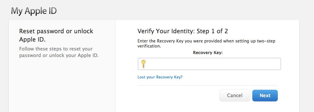 Screenshot step 1 Apple ID verification