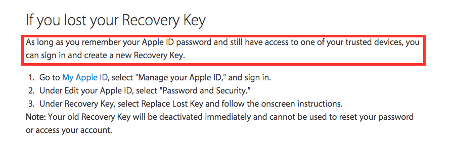 Screenshot lost recovery key Apple's Two-Factor Authentication