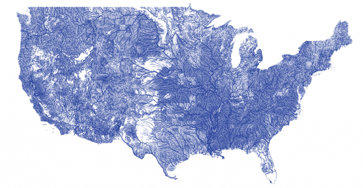 A visualization of the United States' rivers