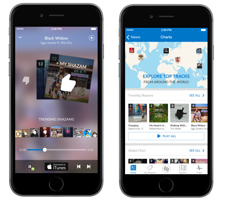 Shazam mobile update adds in-app music player, deeper Spotify integration and 'Shazam Counts' ...