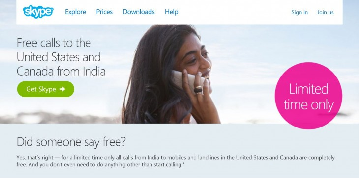 Skype users in India can make free calls to the US and Canada until March 2015