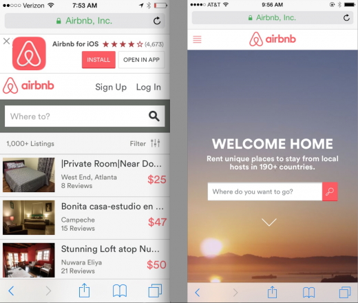 Left: Old Airbnb Mobile Homepage, Right: New Airbnb Mobile Homepage