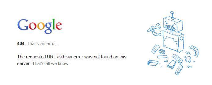 Google's 404 Error Page Design