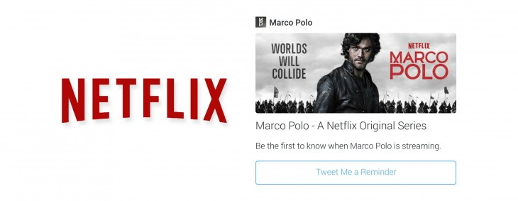 "Netflix is testing a ""Tweet Me a Reminder"" button on Twitter for new episodes"