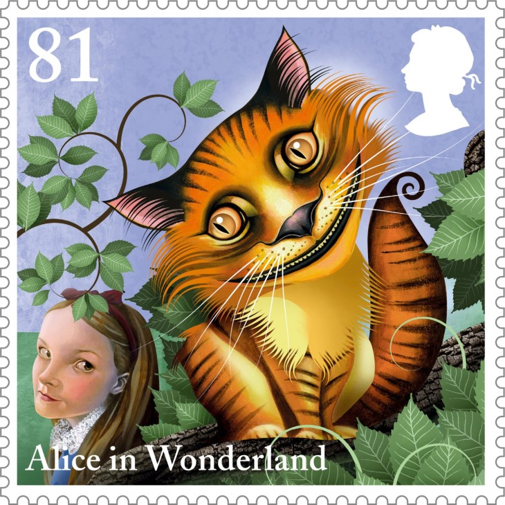 Alice-The-Cheshire-Cat-81p-stamp-400
