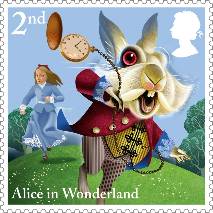 Alice-The-White-Rabbit-2nd-Class-stamp-400