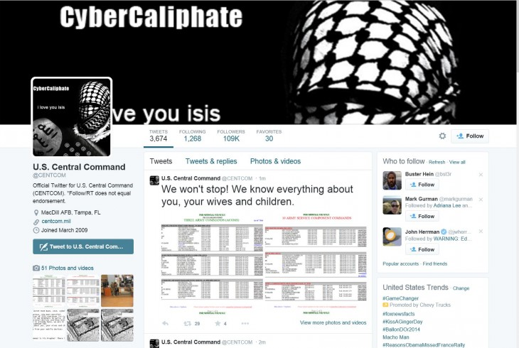 US Central Command's Twitter and YouTube accounts hacked to send threatening, pro-ISIS messages ...