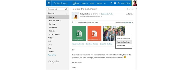 Outlook OneDrive