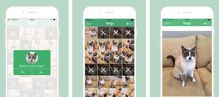 Purrge for iOS lets you remove unwanted photos in fine feline fashion