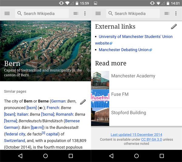 Wikipedia Android screens