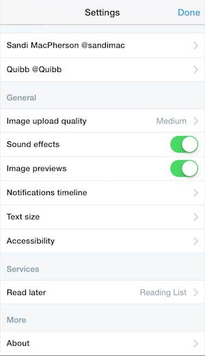 mobile twitter settings