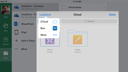 Microsoft updates iOS Office apps with additional third party storage support