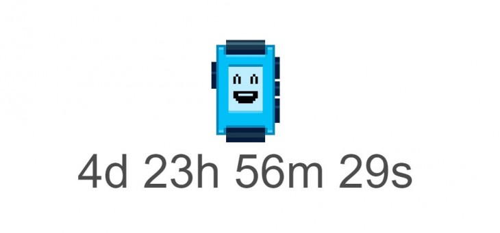 Pebble's homepage is displaying a mysterious countdown timer