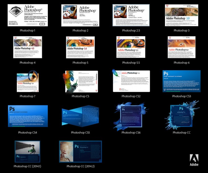 Photoshop Splash Screens Through the Years