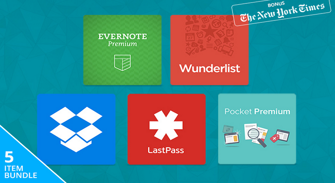 67% off The Five-Star Productivity Pack featuring Dropbox Pro, Evernote, LastPass, Pocket and Wunderlist ...