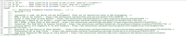 British bookseller Waterstones hid a reading list for developers in its source code