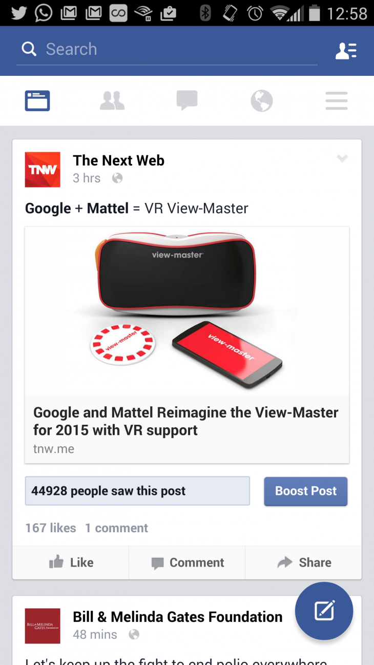 Facebook is testing Material Design on its Android app