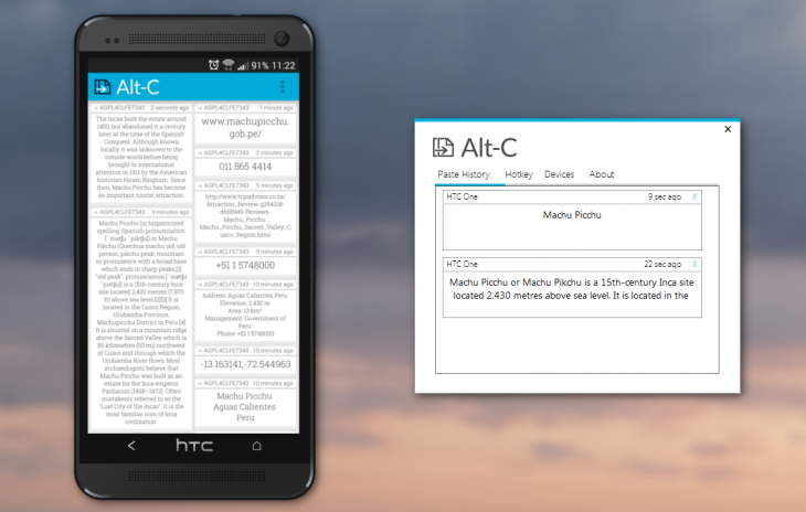 Alt-C is a simple app that lets you copy text between an Android device and your PC. That's it. ...