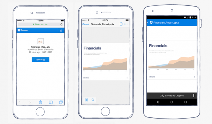 Dropbox now lets you open shared links directly in Android and iOS apps