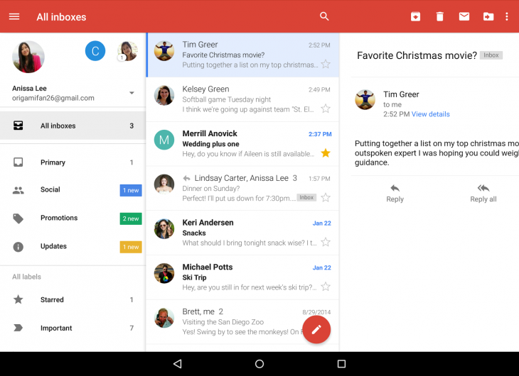 Gmail for Android now lets you check all your accounts in a single inbox