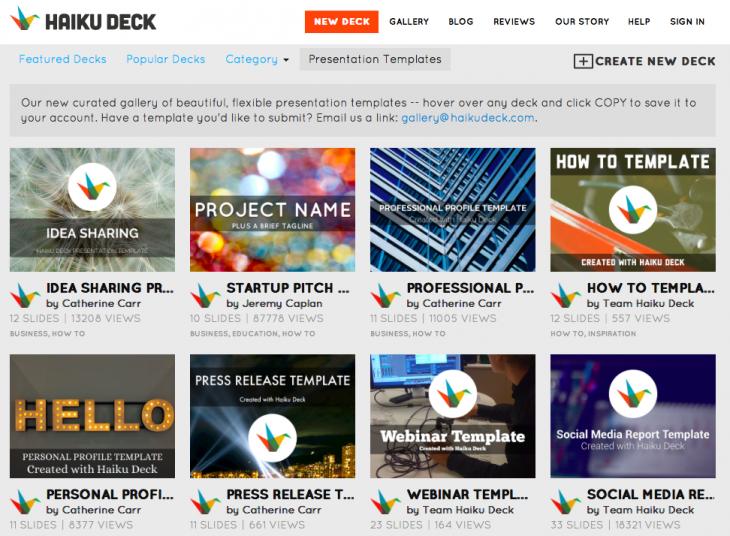 haiku deck's ai tool automatically creates your presentation, Templates