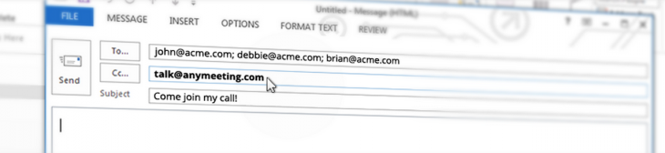 Get on a conference call in seconds by copying in this email address
