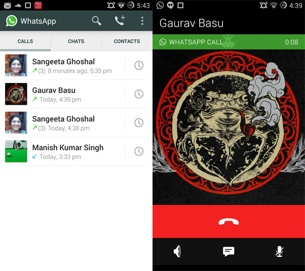 WhatsApp calling screens