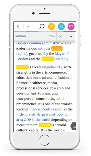 Wikiwand iPhone - In-Article Text Search