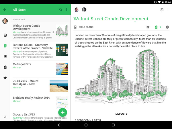 Evernote Android tablet