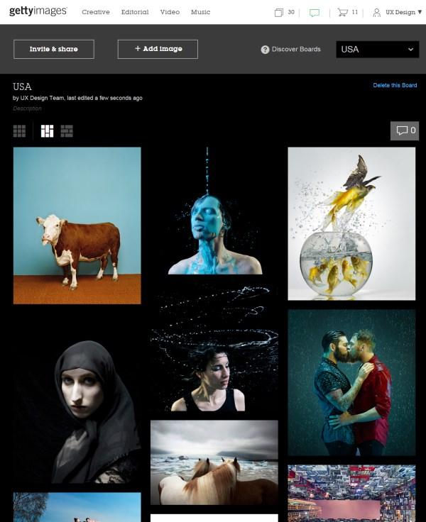 Getty Images Boards on desktop